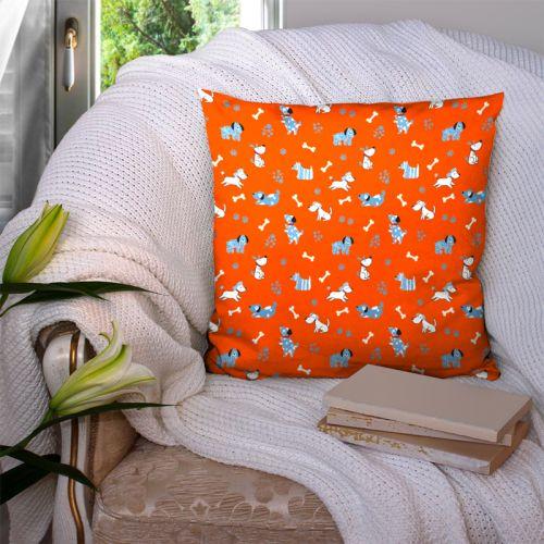 Chien bleu - Fond orange