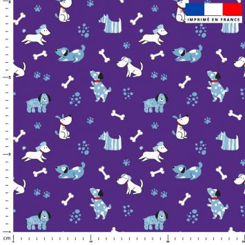 Chien bleu - Fond violet