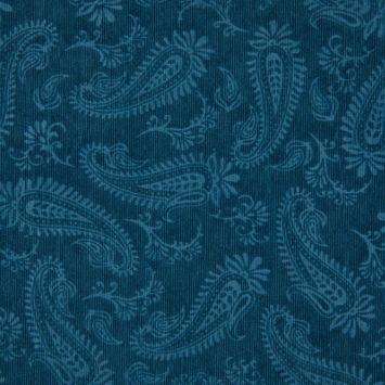 Tissu velours milleraies incrusté motif cachemire bleu pétrole