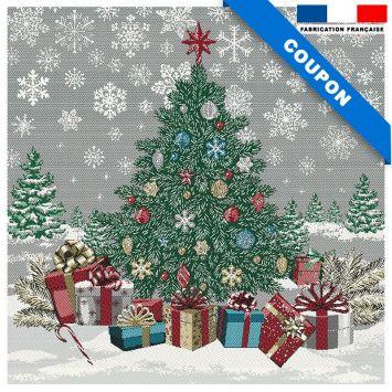 Carré de jacquard sapin de Noël argenté 48x48 cm