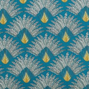 coupon - Coupon 65cm - Coton bleu canard motif arbre du voyageur