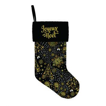 Kit chaussette de noel noir motif sapin doré
