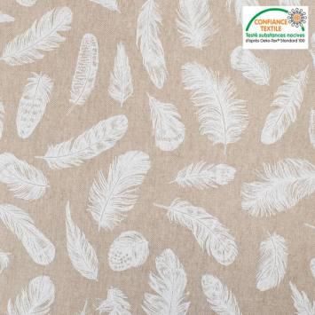 Toile polycoton beige imprimée plume blanche Oeko-tex