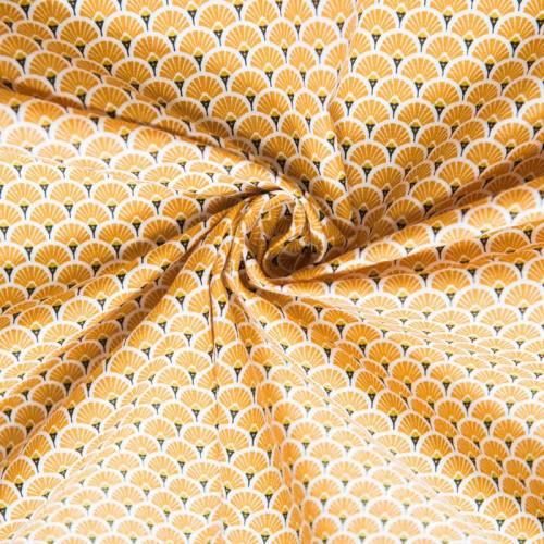 Coton imprimé éventails safran et ocre