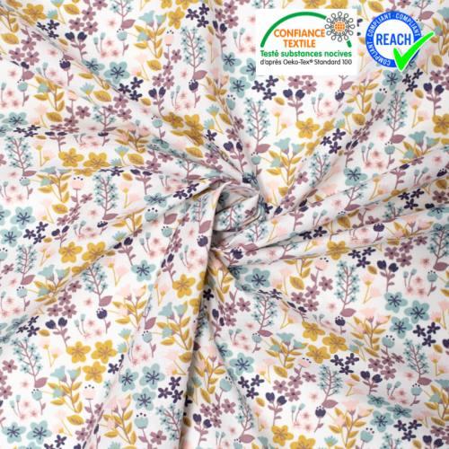 coupon - Coupon 50cm - Coton blanc motif Milly fleur vert d'eau et rose pâle