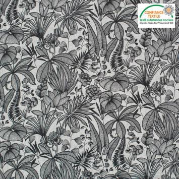 coupon - Coupon 55cm - Coton blanc motif feuilles java Oeko-tex