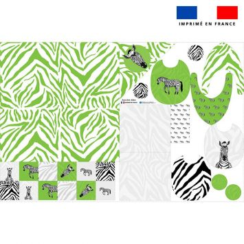 Coupon éponge kit puériculture motif zèbre - Création Anne Clmt
