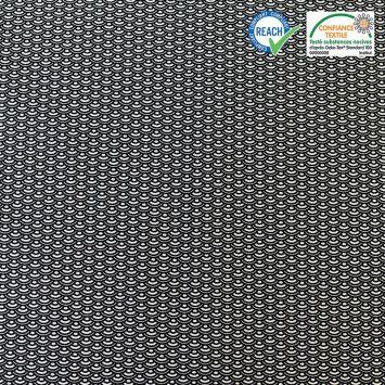 Coton noir motif éventail seigaiha saijo Oeko-tex