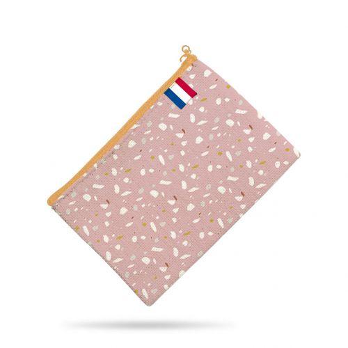 Kit pochette motif tiles rose - Création Anne Clmt