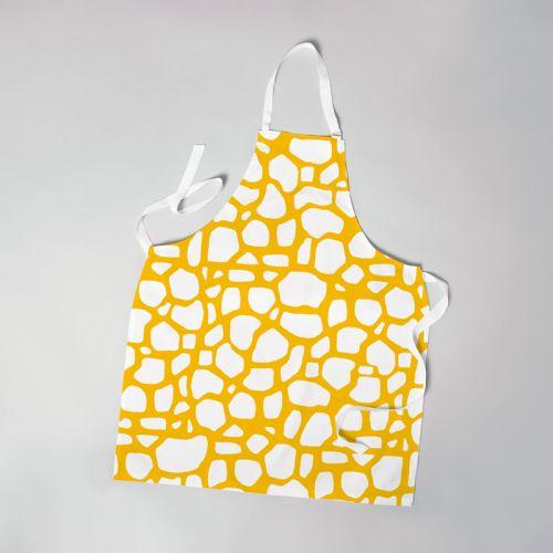 Patron imprimé pour tablier motif tâches de girafe blanches - Création Anne Clmt