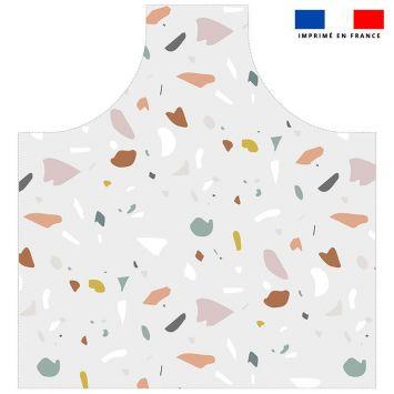 Patron imprimé pour tablier motif tiles gris - Création Anne Clmt