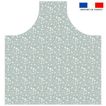 Patron imprimé pour tablier motif tiles vert - Création Anne Clmt