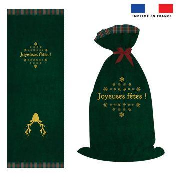 Kit hotte de Noel motif renne vert