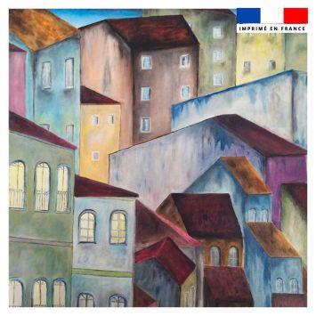 Coupon 45x45 cm motif maisons - Création Lilou L