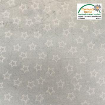 Polaire microfibre grise étoiles phosphorescentes Oeko-tex