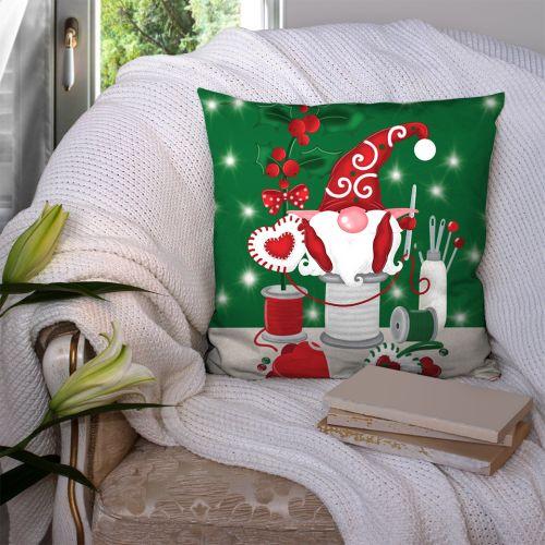 Coupon 45x45 cm motif lutin couturier vert - Création Créasan'