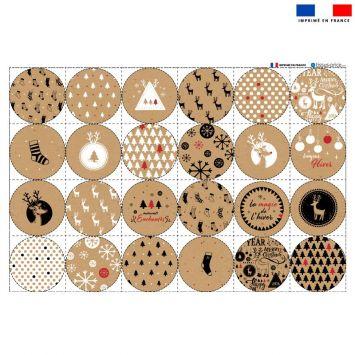 Coupon éponge pour lingettes démaquillantes forme ronde motif liège de Noel