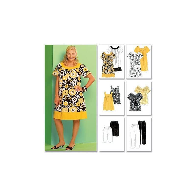 Patrons McCall's M5640 : Haut, robe, short, pantalon, corsaire Taille : 46-52