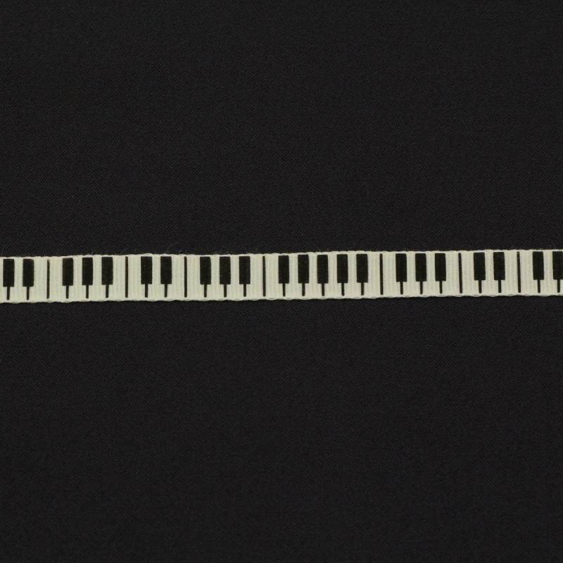 """Ruban """"touches de piano"""" 10mm couleur ivoire"""