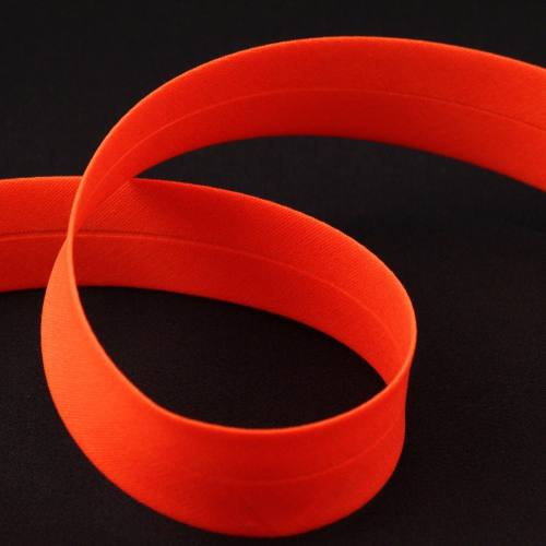 Biais replié polycoton orange fluo