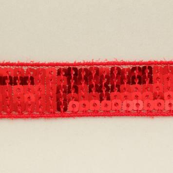 Galon paillettes carrées rouge