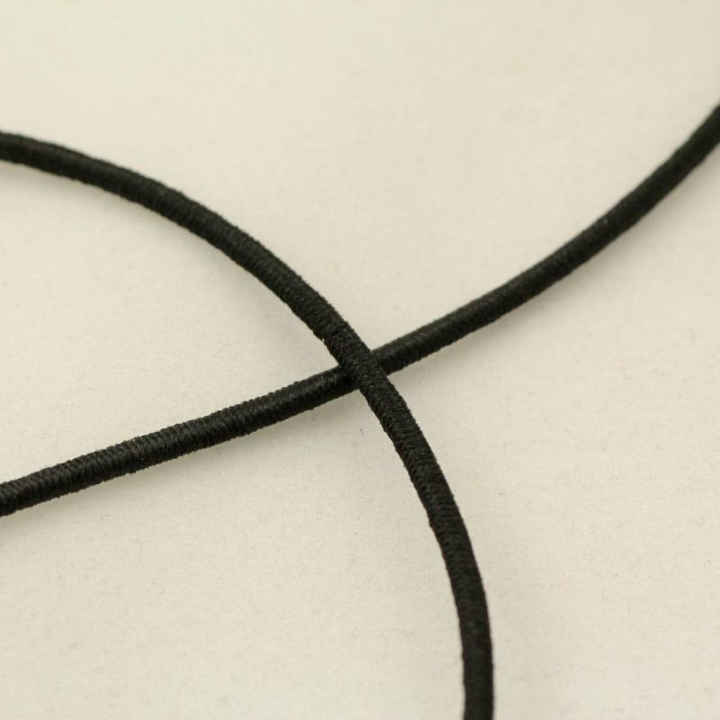 Elastique à chapeau noire 1mm