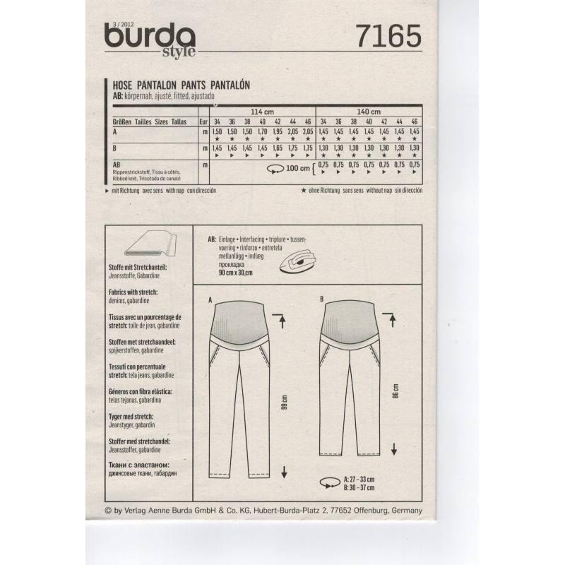 Patron N°7165 Burda 'Future Maman': Pantalon Taille : 34-46