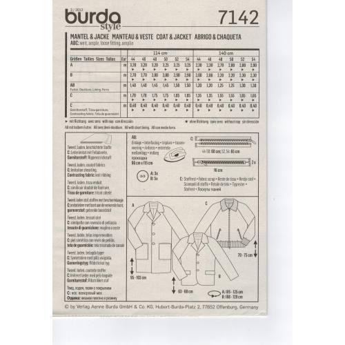 Patron Burda N°7142 : Manteau & Veste Homme Taille : 44-54
