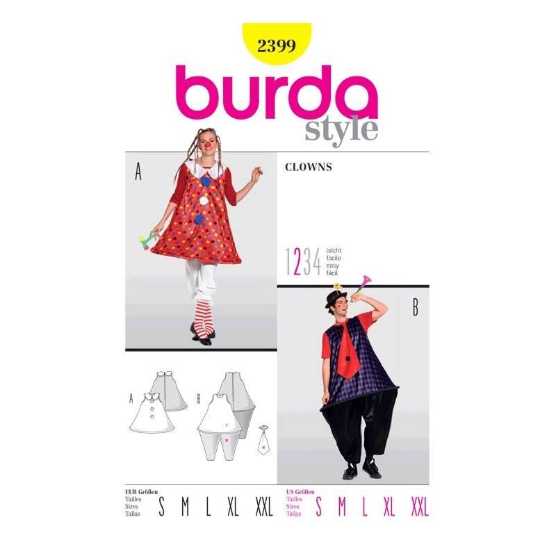 Patron Burda N°2399 carnaval : clowns Taille : S-XXL