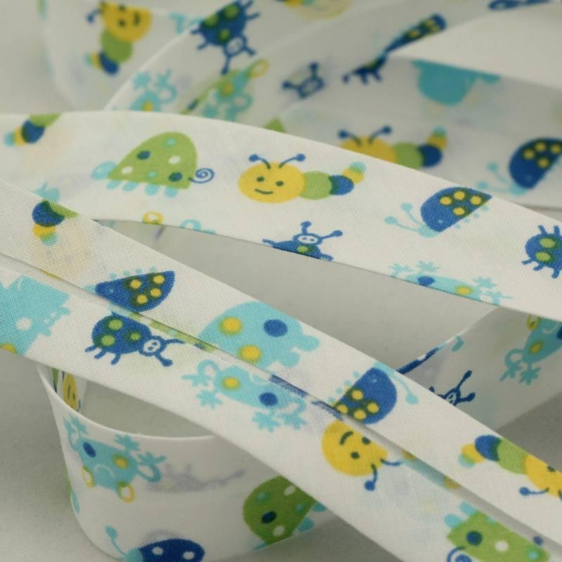 Biais replié enfant 25 mm - animaux bleu