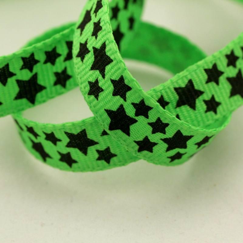 Ruban fantaisie de 10 mm - étoiles - vert