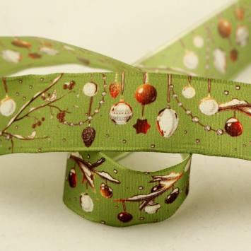 Ruban laitonné mobile boules de Noël vert