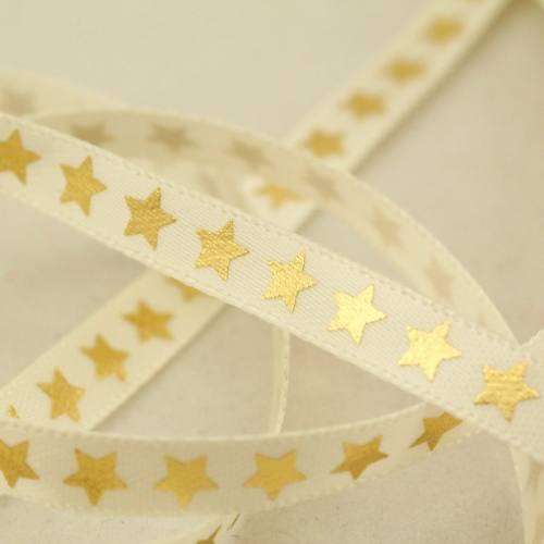 Ruban satin ivoire étoiles dorées