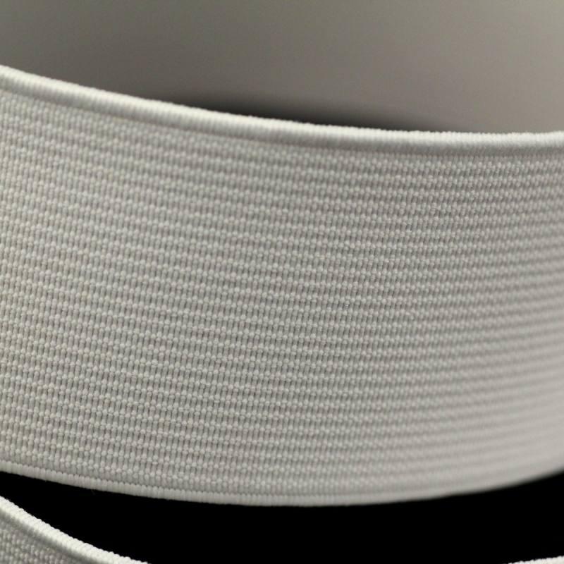 Rouleau 25m d'élastique cotelé blanc 40 mm