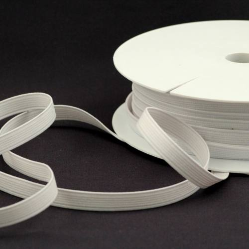 Rouleau 25m d'élastique cotelé blanc 10 mm