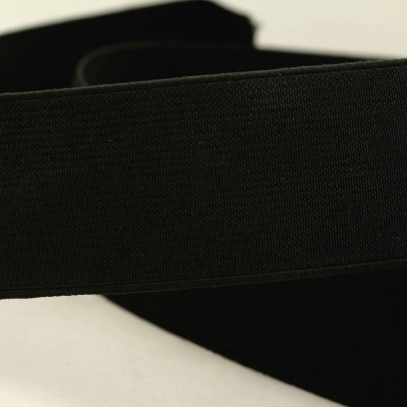 Rouleau 25m d'élastique cotelé noir 40 mm