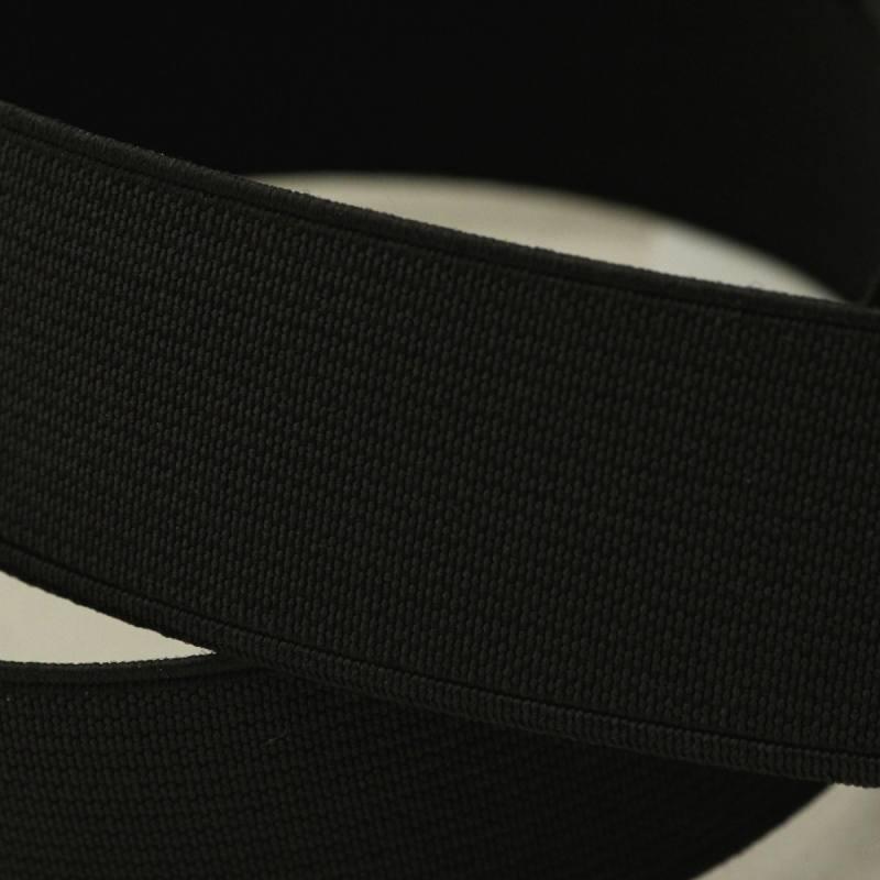 Rouleau 25m d'élastique cotelé noir 30 mm