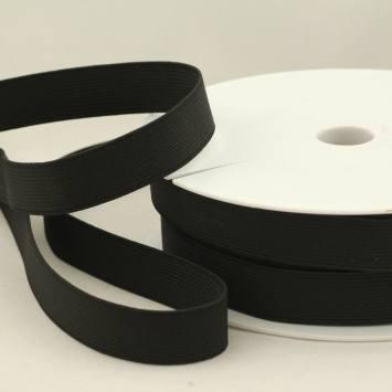 Rouleau 25m d'élastique cotelé noir 20 mm