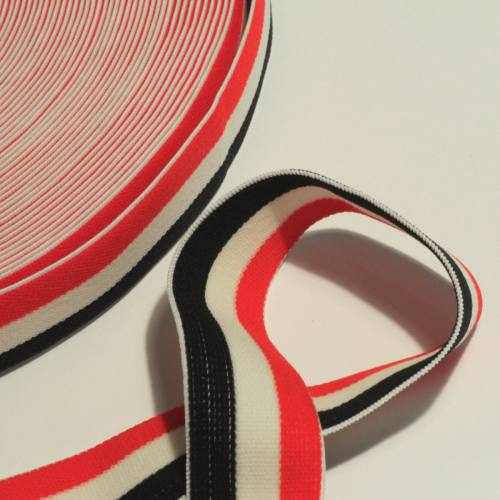 bobine d'élastique 30 mm noir blanc rouge de 25 mètres