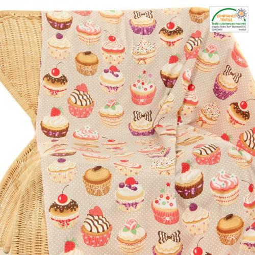 Coton beige décoration de cuisine cupcakes