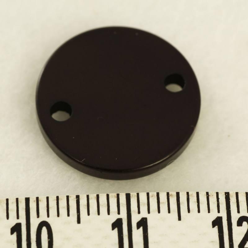 Pampille plastique 2 trou noire 17mm