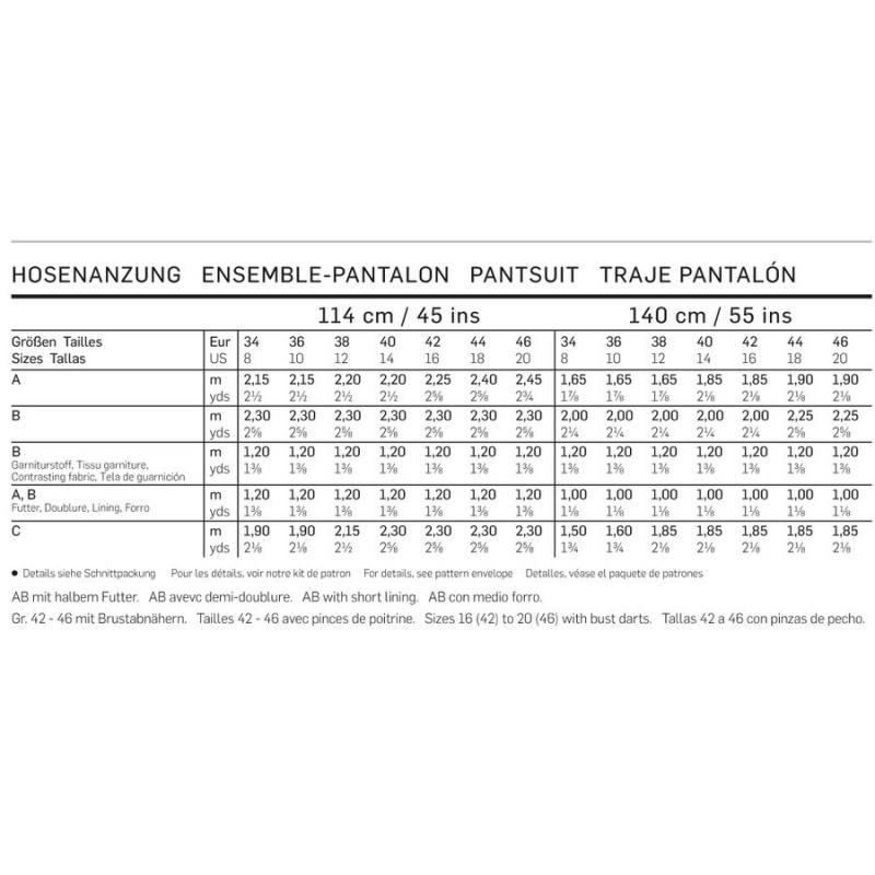 Patron Burda 6898 : Ensemble-Pantalon 34-46