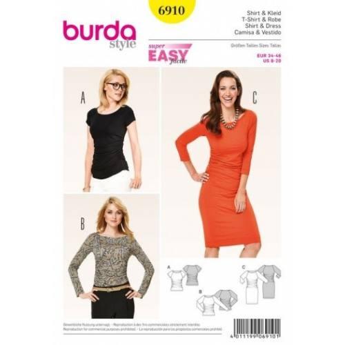 Patron Burda 6910 : T-Shirt et robe 34-46