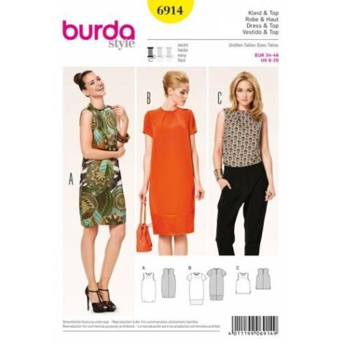 Patron Burda 6914 : Robe et haut 34-46