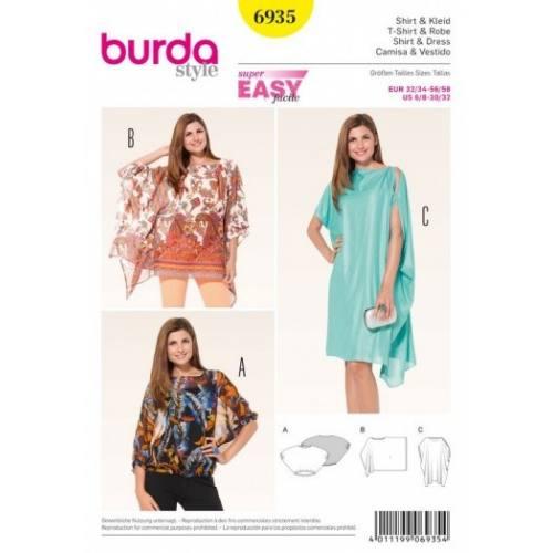Patron Burda 6935 : T-Shirt et robe 32/34 à 56/58