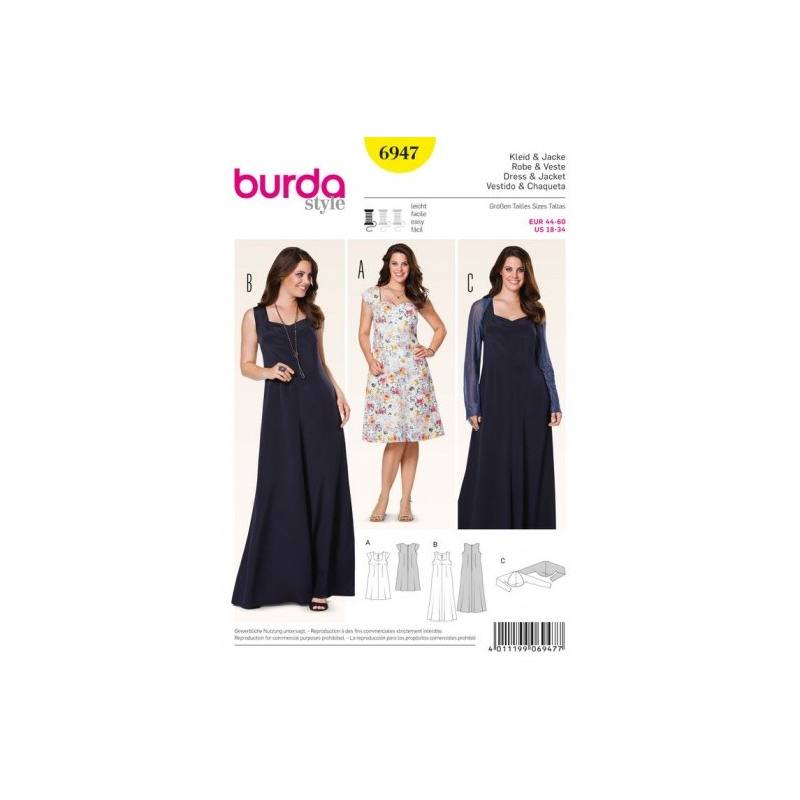 Patron Burda 6947 : Robe et veste 44 à 60