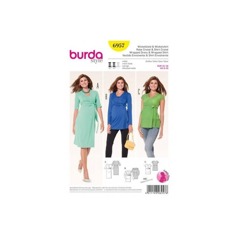 Patron Burda 6957 : Robe croisé et shirt croisé 34 à 46