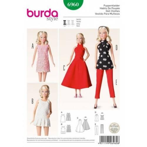 Patron Burda 6960 : Habits de poupée