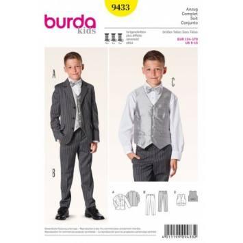Patron Burda 9433 : Costume 134 à 170