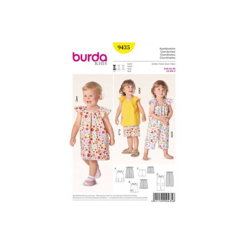Patron Burda 9435 : Coordonnés petite fille 6 mois à 3 ans